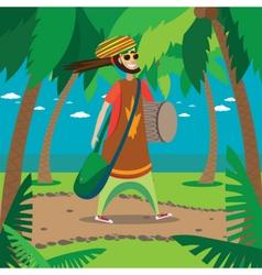 Rasta man walking vector image