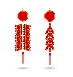 Red chinese firecracker flat icon red vector