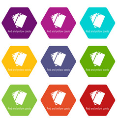 red yellow card icons set 9 vector image