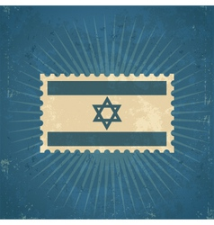 Retro Israel Flag Postage Stamp vector