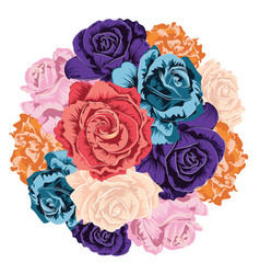 Round bunch of roses vector