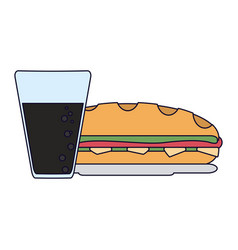 Sandwich with soda cup vector