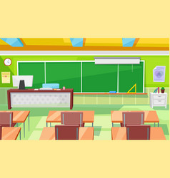 School room interior classroom with teacher table vector