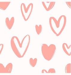 seamless pattern with hand drawn pink hearts on vector image