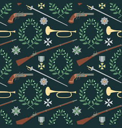 seamless pattern with weapon of the 19th century vector image