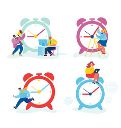 set businesspeople and huge clock business vector image