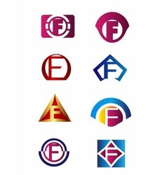 Set of letter F logo Branding Identity Corporate v vector image