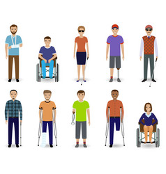 Set of ten disabled people characters disability vector