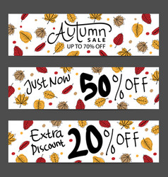set three nature banners with colorful autumn vector image