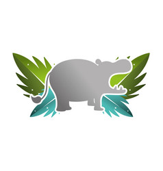 Silhouette hippopotamus with exotic leaves reserve vector