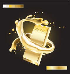 Splash around gold bar realistic 3d image vector