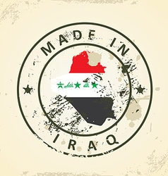 Stamp with map flag of Iraq vector