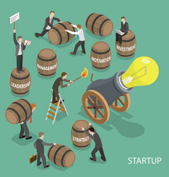 startup flat isometric low poly concept vector image