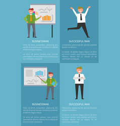 successful businessman set of banners with text vector image