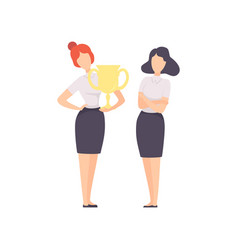 successful businesswoman standing with winner cup vector image
