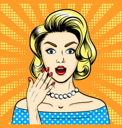 Surprised woman pop art style vector