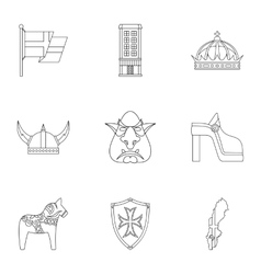 Tourism in Sweden icons set outline style vector image
