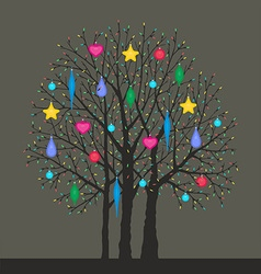 tree with Christmas toys vector image