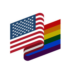 usa and lgbt flag symbol of tolerant america gay vector image