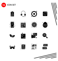 User interface pack 16 basic solid glyphs of vector
