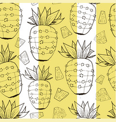 Vintage pineapple pattern print with stripes vector