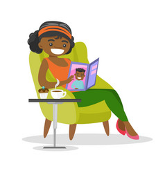 Young african-american woman reading a magazine vector