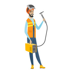 young hindu welder holding gas welding machine vector image