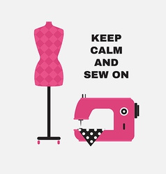 Poster Greeting card with sewing accessories Flat vector image vector image
