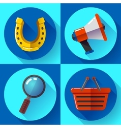 Set icons SEO marketing Flat design style vector image