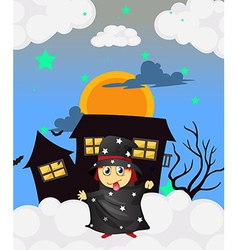 A witch near a haunted house vector image vector image
