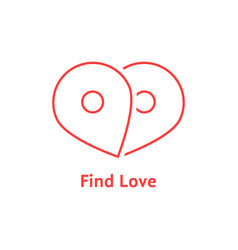 find love with red outline map pin vector image vector image
