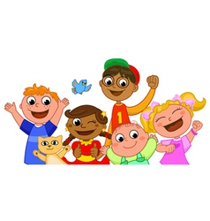five happy kids smiling vector image vector image