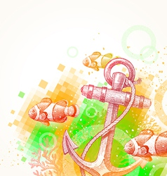 Hand drawn anchor and tropical fishes vector image