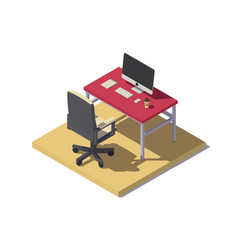 isometric low poly office workplace vector image vector image
