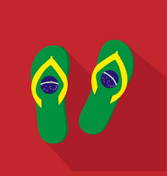 Slippers flat cartoon icon brazil vector