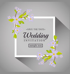 vintage wedding invitation with floral elements vector image