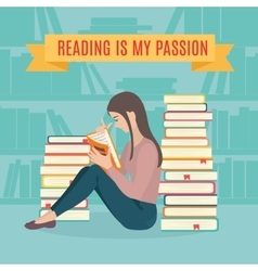 Young woman sitting read his favorite book vector image vector image