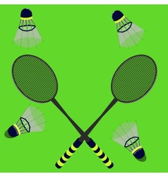 badminton rackets and shuttlecocks vector image