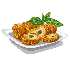 chicken rolls with salad vector image vector image
