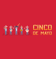 cinco de mayo festival poster with group of vector image