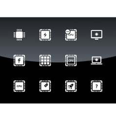 Computer CPU and microchip icons on black vector image vector image