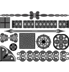 Elements of design in medieval celtic style vector image vector image