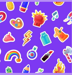 fashion sticker seamless pattern patch background vector image vector image