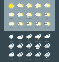 Flat colored weather icons collection vector image