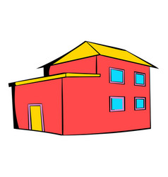 Red house icon icon cartoon vector