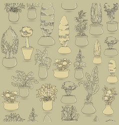 seamless pattern with black doodle house plants i vector image