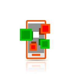 Simple stylized colorful icon - mobile apps vector image