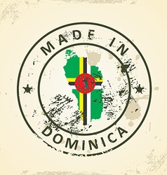 Stamp with map flag of Dominica vector image vector image