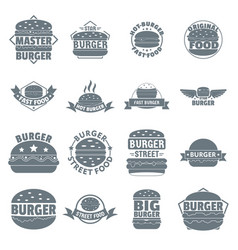 Burger logo icons set simple style vector