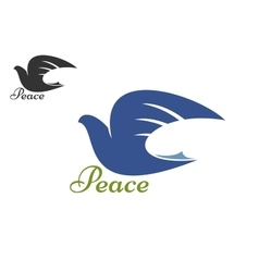 Dove blue silhouette as a symbol of peace vector image